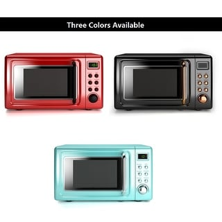 Costway 0.7Cu.ft Retro Countertop Microwave Oven 700W LED Display Glass Turntable RedGreenblack rose gold