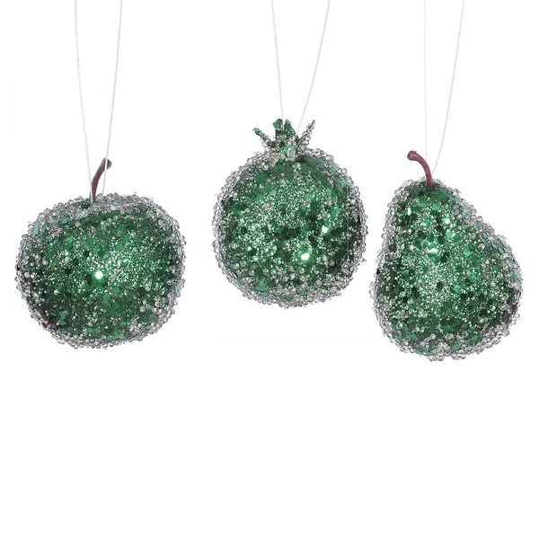 3ct Emerald Green Beaded, Sequin and Glitter Pear, Apple and Pomegranate Fruit Christmas Ornaments