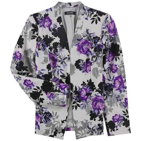 Nine West Womens Crepe Collarless Blazer Jacket, Grey, 2