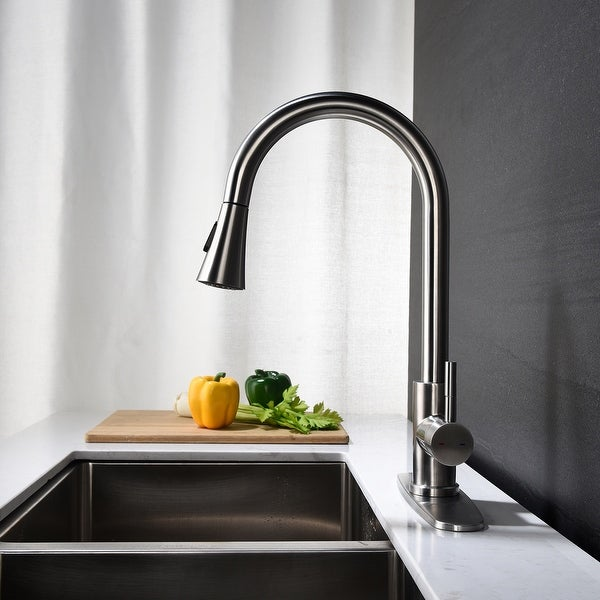 Kitchen Faucet with Pull Down Sprayer, Unique 3 Water Effect High Arc Brushed Nickel Finish with Removable Escutcheon. Opens flyout.