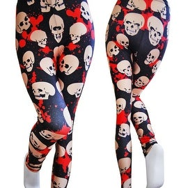 Fashion Lady Pattern Printed White Red Skull Stretch Tight Leggings Skinny Pants