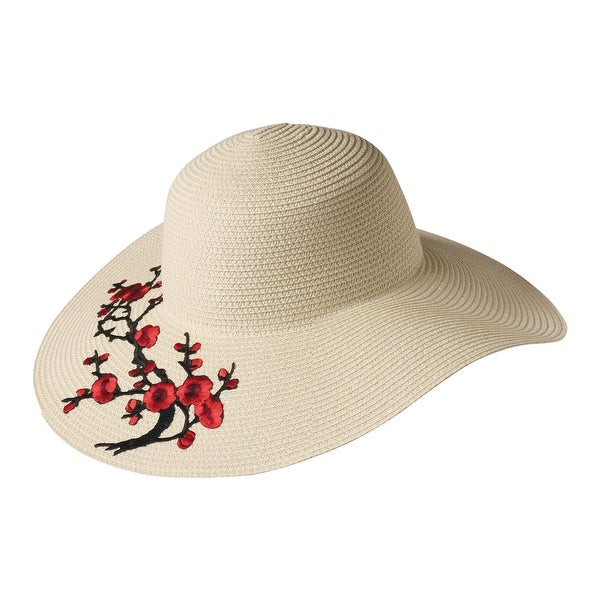 1fea22c34f3 Shop Sun N  Sand Women s Wide Brimmed Hat - Red Floral Applique on Woven  Raffia - Multicolor - One size - Free Shipping On Orders Over  45 -  Overstock.com - ...