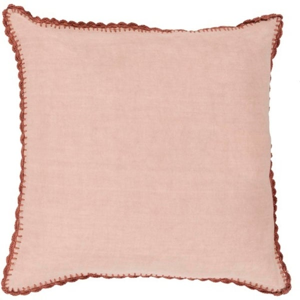 "20"" Ash Rose Pink and Nutmeg Brown Woven Linen Decorative Throw Pillow- Down Filler"