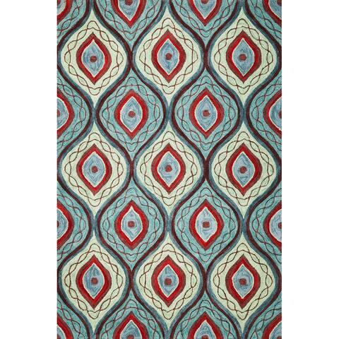 Milan Morrocan Teal Trellis Hand-Tufted Rug