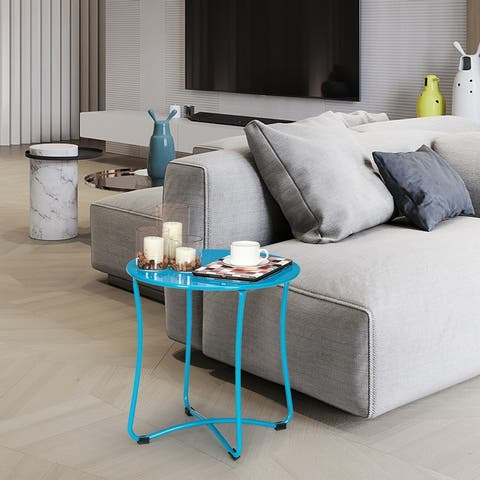 18 inch Round Metal Sofa Side Table End Table