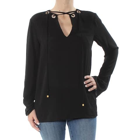 MICHAEL KORS Womens Black Embellished Long Sleeve Top Size: S