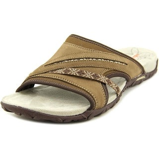Merrell Terran Slide Women Open Toe Leather Brown Slides Sandal