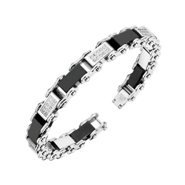 Stainless Steel Bracelet with Paved Gem & Black Link (9 mm) - 8.75 in