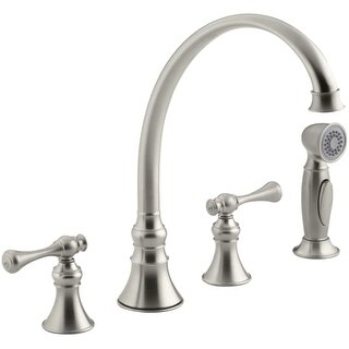 Kohler K-16109-4A Double Handle Kitchen Faucet with Metal Traditional Lever Handles and Sidespray from the Revival Series