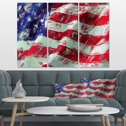 Designart 'USA Flag Abstract Art' Map & Flag Canvas Art Print - 36x28 - 3 Panels