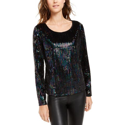 INC International Concepts Women's Sequinned Velvet Top Black Size Extra Small