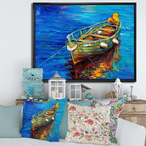 Designart 'Boats Resting on The Water During Warm Sunset IV' Nautical & Coastal Framed Canvas Wall Art Print