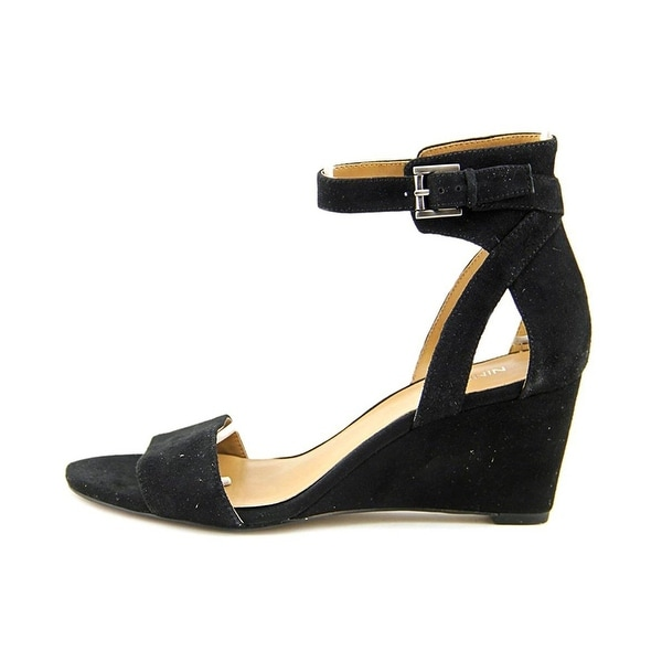 Nine West Womens Nobody Open Toe Ankle Strap Wedge Pumps