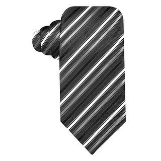 Geoffrey Beene Black and Grey Titanium Stripe Silk Blend Tie Classic Necktie