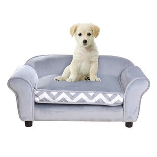 Gymax Gray Pet Dog Puppy Sleeping Bed Sofa w/ Cushion