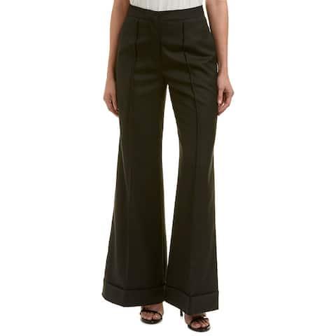 Nicole Miller Arterlier Wool-Blend Silk-Trim Pant