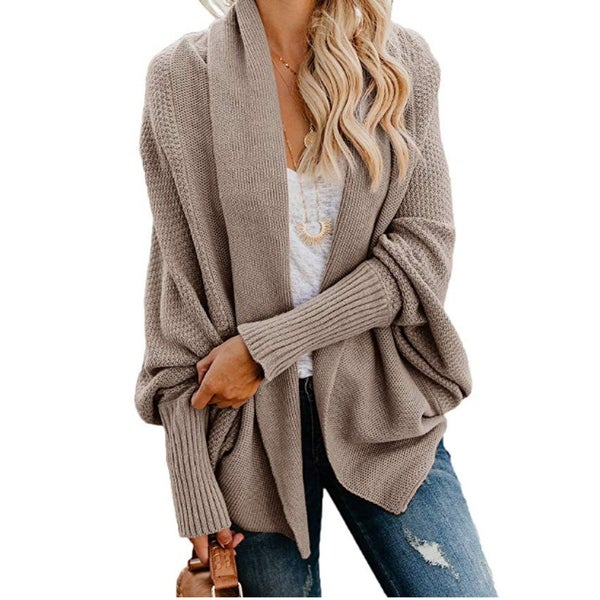 Batwing Sleeve Shawl Open Front Cardigan Sweater. Opens flyout.