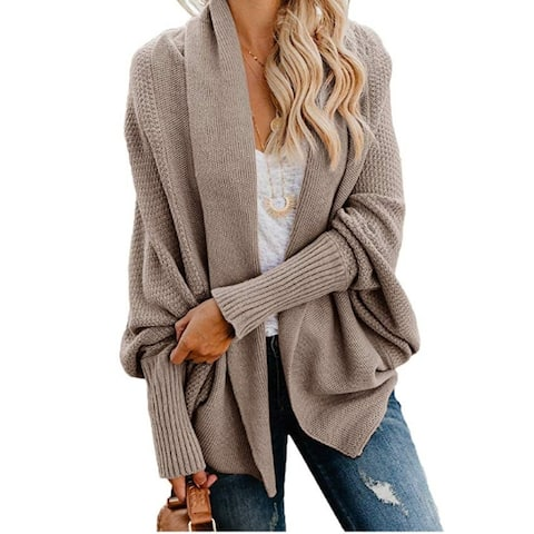 Batwing Sleeve Shawl Open Front Cardigan Sweater