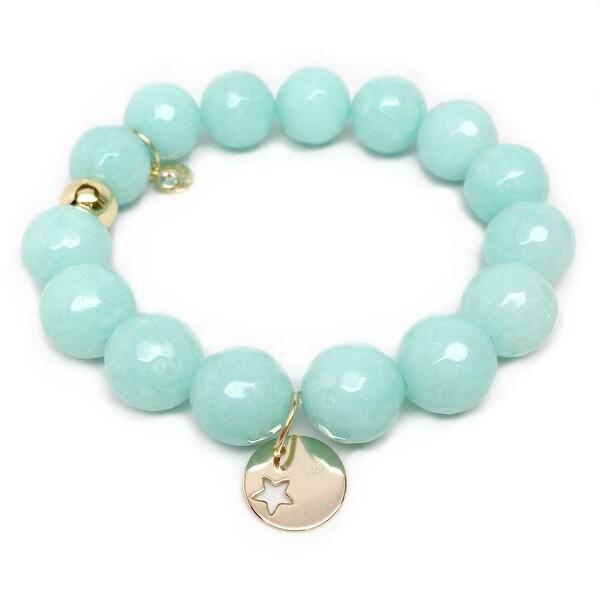 "Aqua Quartz Star Disc Gold Charm Lauren 7"" Bracelet"