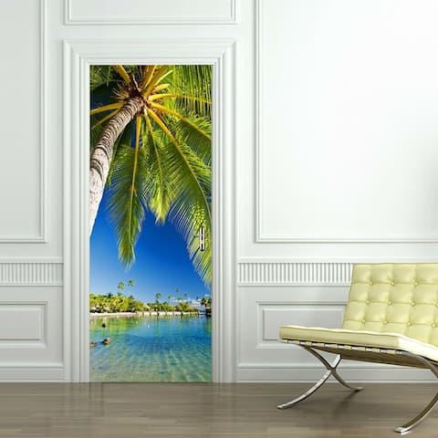 Walplus Tropical Island Peel and Stick Door Mural Sticker Home Decor