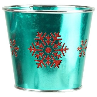 "6.5"" Small Teal Green with Red Snowflakes Christmas Potted Plant Cover"