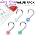 4 Pcs Value Pack of Assorted Opal Ball 316L Surgical Steel Nose Screw - Thumbnail 0