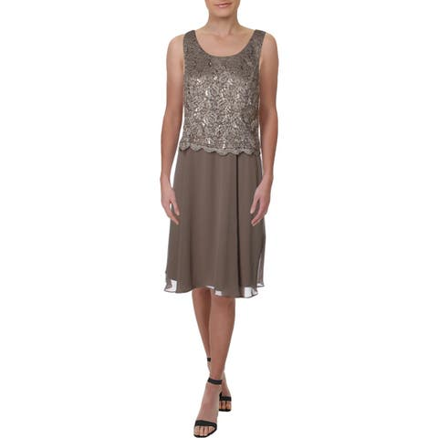 R&M Richards Womens Petites Cocktail Dress Lace Sleeveless