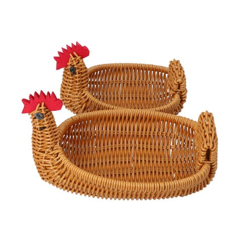 Set of 2 Beige Multi Purpose Durable Chicken Shape Rattan Basket