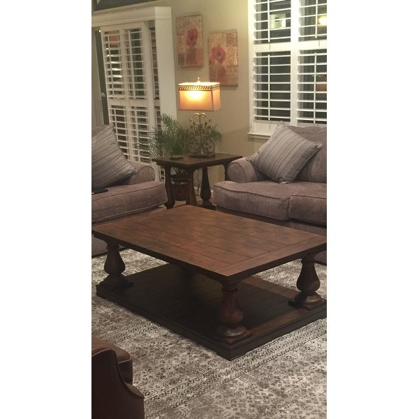 Shop Densbury Traditional Rustic Natural Pine Coffee Table On Sale - Densbury coffee table