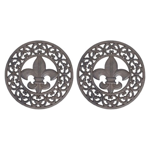 Set of 2 Distressed Finish Cast Iron Fleur de Lis 10 Inch Table Trivets