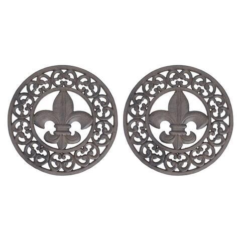 Set of 2 Distressed Finish Cast Iron Fleur de Lis 10 Inch Table Trivets - 1 X 10 X 10 inches