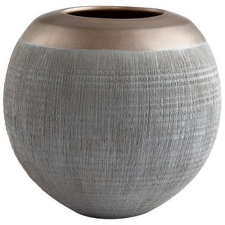 "Cyan Design 09008  Osiris 8-1/4"" Diameter Ceramic Vase - Charcoal / Bronze"