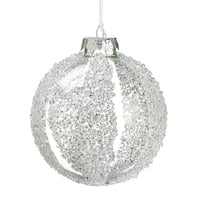 "4"" Winter Light Clear and Bead Embellished Striped Glass Christmas Ball Ornament"