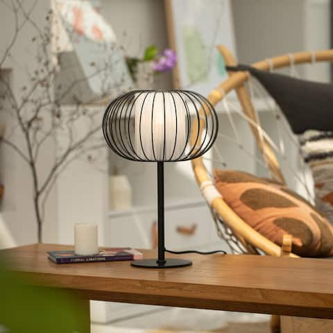 "CO-Z 17"" Modern Desk Lamp Table Lamp with White Fabric Shade and Metal Cage Frame"