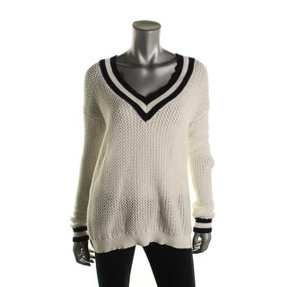 Hooked Up by IOT Womens Juniors Open Stitch V-Neck V-Neck Sweater