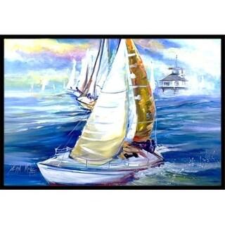 Carolines Treasures JMK1073JMAT Rock My Boat Sailboats Indoor & Outdoor Mat 24 x 36 in.