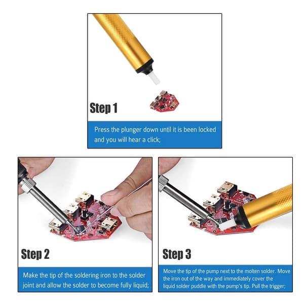 Solder Remover Tool Desoldering Pump Solder Sucker Remover Aluminum Iron Gold