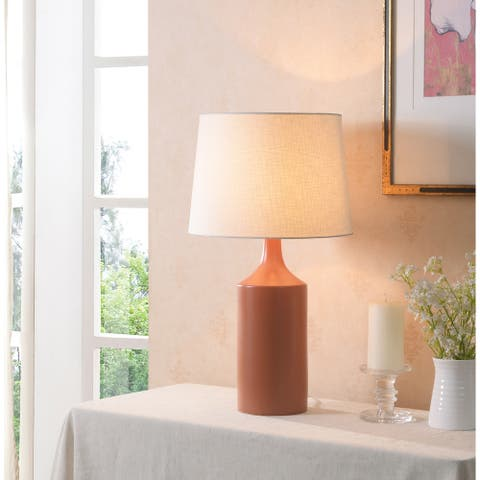 "Kendall 25.5"" Matte Orange Ceramic Table Lamp"