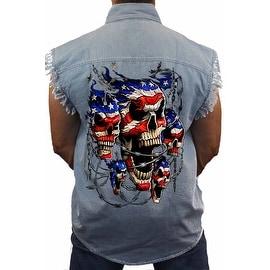 Men's Sleeveless Denim Shirt USA Flag Skulls In Chains Stars & Stripes American