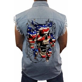 Men's Sleeveless Denim Shirt USA Flag Skulls In Chains Stars & Stripes American