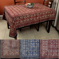 Hand Block Print Dabu Tablecloth Rectangular 60 x 90 inches Floral Handmade 100% Cotton Blue Brown Red