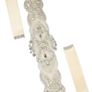 Women Rhinestone Bead Decor Satin Ribbon Wedding Belt Brown