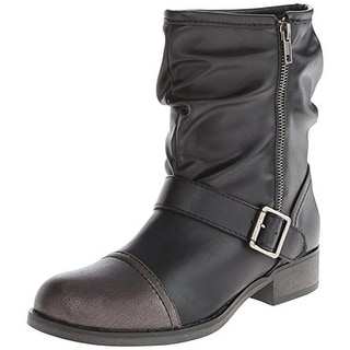 Dolce by Mojo Moxy Womens Harley Motorcycle Boots Faux Leather Slouchy - 7.5 medium (b,m)