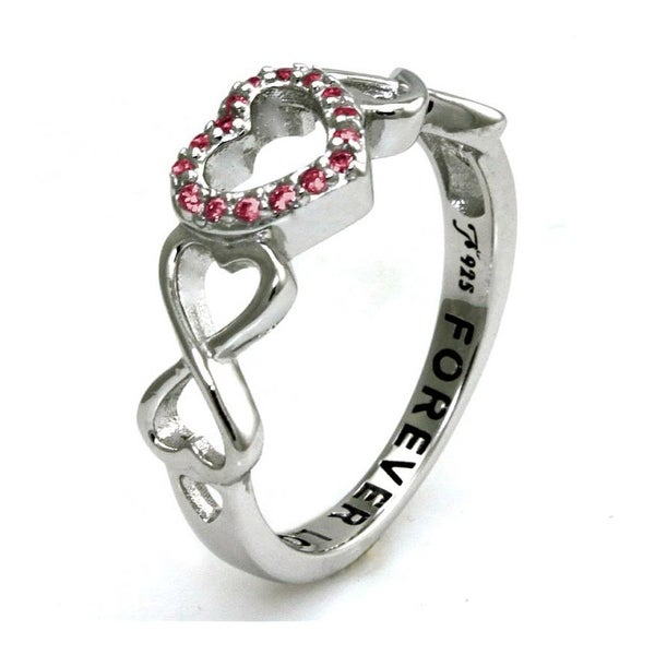 Sterling Silver Double Infinity Heart Forever Love Ring w/ Amethyst Cubic Zirconia