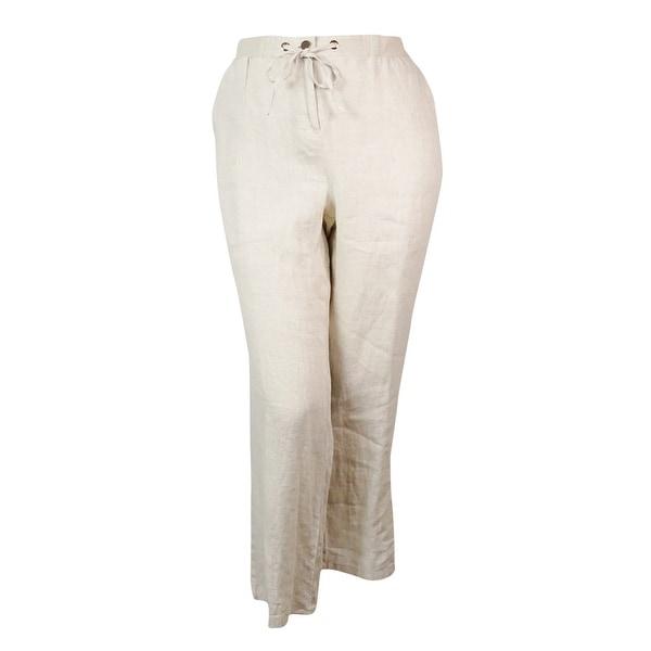 JM Collection Women's Wide Leg Linen Pants - Flax - 16W