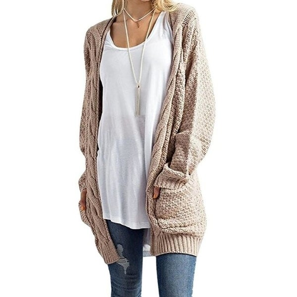 Women  x27 s Cosy Long Sleeve Button Wrap Open Fron Cable Knit Sweater Shawl 8ee8187ef