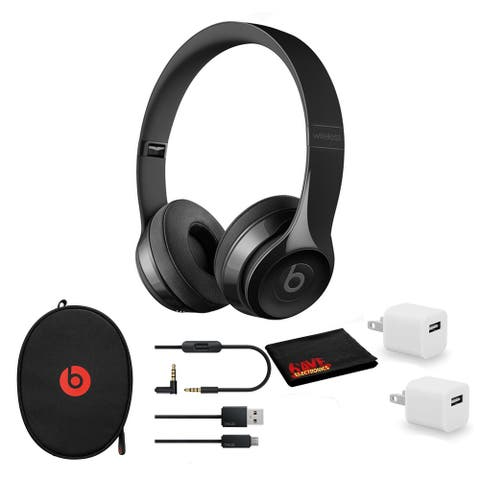 Beats Solo3 Wireless Headphones (Gloss Black) - Kit with USB Adapter