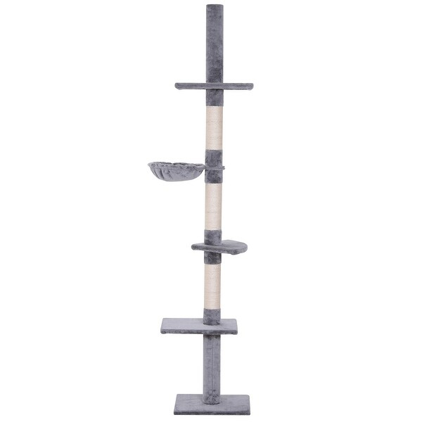 PawHut 8.5' Adjustable Height Floor-To-Ceiling Vertical Cat Tree with 5 Carpeted Platforms & 3 Sisal Rope Scratching Areas. Opens flyout.