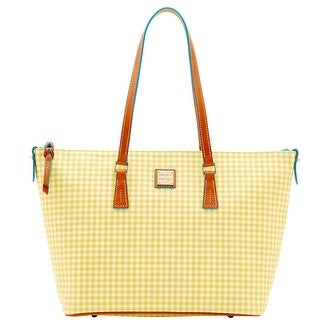 Dooney & Bourke Small Gingham Zip Top Shopper (Introduced by Dooney & Bourke at $248 in Jan 2016) - Yellow