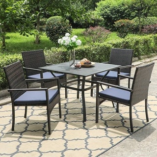 """Link to PHI VILLA Seats up to 4 Outdoor Dining Sets, 37"""" Square Metal Bistro Table with 1.7"""" Umbrella Hole and 4 Rattan Garden Chairs Similar Items in Patio Dining Chairs"""